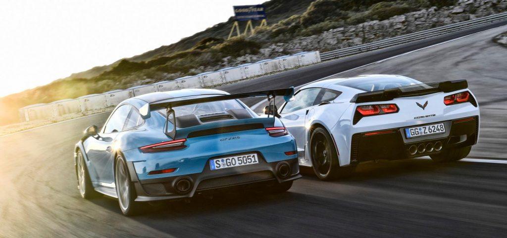 Porsche GT2 RS mit Corvette Z06 ...
